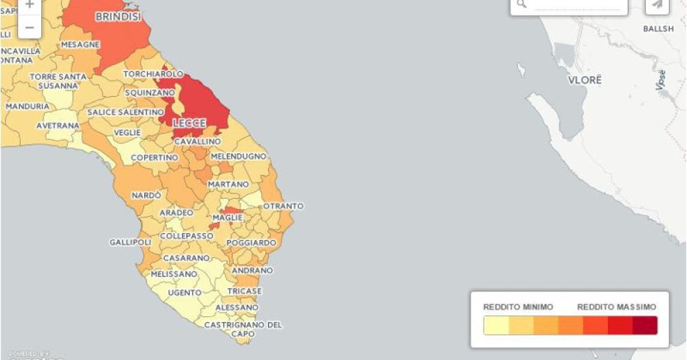 Cartina Puglia Zona Lecce.Classifica Dei Redditi Lecce Paperona Di Puglia Nel Sud Salento I Comuni Piu Poveri